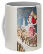 A Merry Christmas Vintage Greetings From Santa Claus And His Raindeer Coffee Mug
