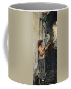A Neapolitan Flax Spinner John William Waterhouse Coffee Mug