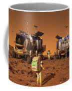 A Pair Of Manned Mars Rovers Rendezvous Coffee Mug
