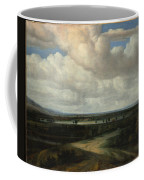 A Panoramic Landscape With A Country Estate Coffee Mug