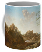 A Panoramic River Valley Landscape With Figures And Village Below Coffee Mug