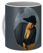 A Peasant Woman Wearing A Black Hat Leaning On A Wooden Ledge Coffee Mug