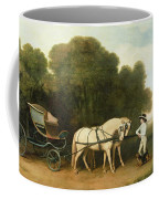 A Phaeton With A Pair Of Cream Ponies In The Charge Of A Stable-lad Coffee Mug by George Stubbs