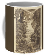A Rainbow Landscape With Two Women Viewing It From Above Coffee Mug
