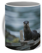 A River Otter Perched On Planks Of Wood Coffee Mug