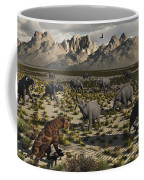 A Sabre-toothed Tiger Stalks A Herd Coffee Mug by Mark Stevenson
