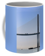 A Sailing Boat Passes Under The Bridge In Tampa Bay Coffee Mug