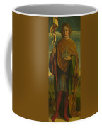 A Saint With A Fortress And A Banner Coffee Mug