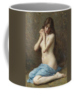 A Seated Nude With A Blue Drape Coffee Mug