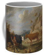 A Shepherd With His Flock In A Landscape With Ruins Coffee Mug