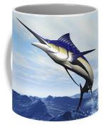 A Sleek Blue Marlin Bursts Coffee Mug
