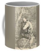 A Sleeping Warrior Seated On A Rock And Leaning On His Shield Coffee Mug