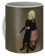 A Small Girl With A Cat Coffee Mug
