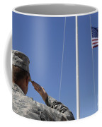 A Soldier Salutes The American Flag Coffee Mug