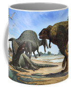 A Spinosaurus Blocks The Path Coffee Mug by Sergey Krasovskiy