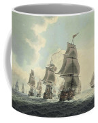 A Squadron Of The Royal Navy Running Down The Channel And An East Indiaman Preparing To Sail Coffee Mug