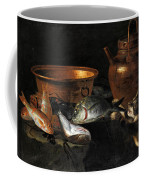 A Still Life Of Fish With Copper Pans And A Cat  Coffee Mug