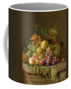 A Still Life Of Melons Grapes And Peaches On A Ledge Coffee Mug by Jakob Bogdani