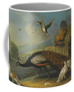 A Still Life With A Peacock, Pigeons And Chickens In A River Landscape Coffee Mug
