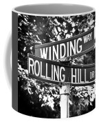 Wi - A Street Sign Named Winding Way And Rolling Hill Coffee Mug