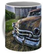 A Stylized Wide Angle Look At An Old Rusty Cadillac By A Cornfield Coffee Mug