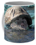 A U.s. Marine Swims Across A Training Coffee Mug by Stocktrek Images