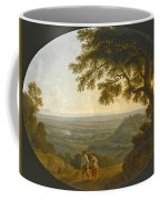 A View Across The Alban Hills With A Hilltop On The Right And The Sea In The Far Distance Coffee Mug