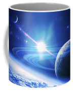 A View Of A Planet As It Looms In Close Coffee Mug by Kevin Lafin