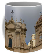 A Well Placed Ray Of Sunshine - Noto Cathedral Saint Nicholas Of Myra Against A Cloudy Sky Coffee Mug