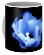 A White Hibiscus Bloom With Blue Tinge On Black Background Coffee Mug