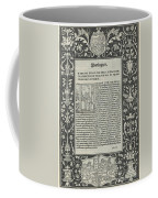 """A White Line Border With Two Cartouches: """"a Satyr Sacrificing A Ram,"""" And """"the Choice Of Hercules"""" Coffee Mug"""