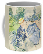 A Woman Seated At A Bench On The Avenue Du Bois Coffee Mug
