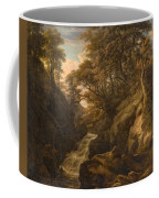 A Wooded Landscape With A Waterfall And A Fisherman Walking Along A Path Coffee Mug