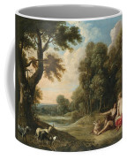A Wooded Landscape With Venus Adonis And Cupid Coffee Mug