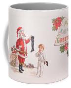 A Xmas Greetings With Santa And Child Vintage Card Coffee Mug
