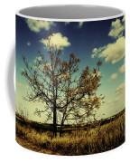 A Yellow Tree In A Middle Of A Dry Field - Wide Angle Coffee Mug