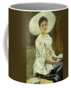 A Young Beauty In A White Hat  Coffee Mug by Franz Xaver Simm