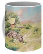 A Young Girl In Summer Landscape Coffee Mug