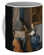 A Young Lady Seated At A Virginal Coffee Mug