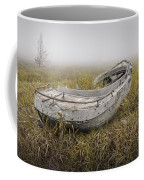 Abandoned Boat In The Grass On A Foggy Morning Coffee Mug