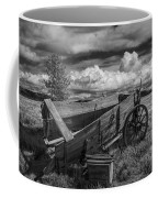 Abandoned Broken Down Frontier Wagon In Black And White Coffee Mug
