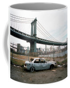Abandoned Car And Manhattan Bridege Coffee Mug