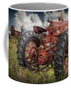 Abandoned Old Farmall Tractor In A Grassy Field Coffee Mug