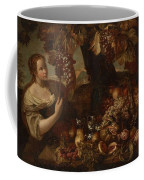 Abraham Brueghel After, Girl With Grapes And Still Life With Fruit. Coffee Mug
