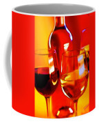Abstract Bottle Of Wine And Glasses Of Red And White Coffee Mug