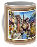 Abstract Canal Scene In Venice L A S With Decorative Ornate Printed Frame. Coffee Mug