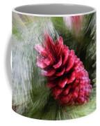 Abstract Christmas Card - Red Pine Cone Blast Coffee Mug