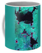 Abstract Corrosive Metal Background With Turquoise Paint Cracks Coffee Mug