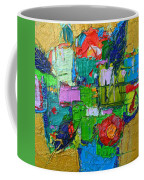 Abstract Flowers On Gold Contemporary Impressionist Palette Knife Oil Painting By Ana Maria Edulescu Coffee Mug