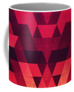 Abstract  Geometric Triangle Texture Pattern Design In Diabolic Future Red Coffee Mug by Philipp Rietz